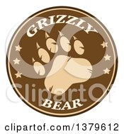 Clipart Of A Grizzly Bear Paw With Text On A Brown Circle Royalty Free Vector Illustration by Hit Toon