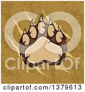 Clipart Of A Grizzly Bear Paw Over Slash Marks And Texture Royalty Free Vector Illustration by Hit Toon