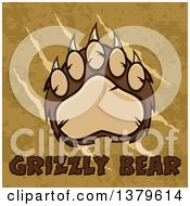 Clipart Of A Grizzly Bear Paw Over Slash Marks Text And Texture Royalty Free Vector Illustration by Hit Toon