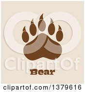 Clipart Of A Brown Grizzly Bear Paw Over Text On Tan Royalty Free Vector Illustration by Hit Toon