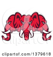 Clipart Of A Retro Red Three Headed Elephant Faces With A Gray Outline Royalty Free Vector Illustration