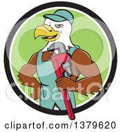 Clipart Of A Cartoon Bald Eagle Plumber Man Holding A Monkey Wrench In A Black White And Green Circle Royalty Free Vector Illustration