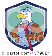 Clipart Of A Cartoon Bald Eagle Plumber Man Holding A Monkey Wrench In A Blue White And Turquoise Shield Royalty Free Vector Illustration