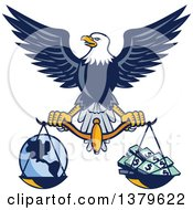 Clipart Of A Flying American Bald Eagle Holding A Scale With Earth And Money Royalty Free Vector Illustration