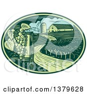 Retro Woodcut Vineyard Farm And Barn In A Green And Blue Oval