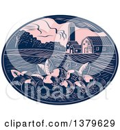 Clipart Of A Retro Woodcut Cranberry Farm With A Barn Silo And Crops In A Pink And Navy Blue Oval Royalty Free Vector Illustration by patrimonio