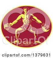 Clipart Of A Retro Woodcut Male Bodybuilder Working Out With Kettlebells In A Yellow And Red Oval Royalty Free Vector Illustration by patrimonio
