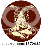 Clipart Of A Retro Woodcut Maori Chief Warrior With Face Tattoos In A Brown Circle Royalty Free Vector Illustration by patrimonio