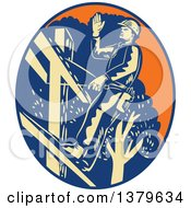Retro Woodcut Power Lineman Waving In An Orange Yellow And Blue Oval