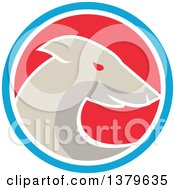 Clipart Of A Retro Greyhound Dog In A Blue White And Red Circle Royalty Free Vector Illustration by patrimonio