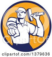 Clipart Of A Retro Male Demolition Worker Holding A Sledgehammer And Pointing In A Blue And Orange Circle Royalty Free Vector Illustration