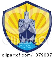 Clipart Of A Retro Cargo Ship Against A Sunset In A Shield Royalty Free Vector Illustration by patrimonio