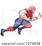 Clipart Of A Cartoon White Male American Football Player Charging With The Ball Royalty Free Vector Illustration by patrimonio