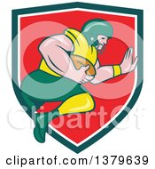 Clipart Of A Cartoon White Male American Football Player Charging With The Ball Emerging From A Green White And Red Shield Royalty Free Vector Illustration