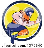 Clipart Of A Cartoon White Male American Football Player Charging With The Ball Emerging From A Blue White And Yellow Circle Royalty Free Vector Illustration