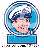 Retro Cartoon Sea Captain Smoking A Pipe In A Blue And White Label
