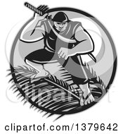 Clipart Of A Retro Grayscale Samoan Ninja With Samurai Sword Over Palm Branches Against A Full Moon Royalty Free Vector Illustration by patrimonio