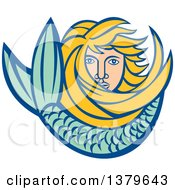 Retro Blond Female Mermaid With Long Hair And A Tail