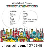 Clipart Of The Worlds Most Popular Tourist Attractions In Vibrant Colors With Text Royalty Free Vector Illustration