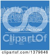 Clipart Of The Worlds Most Popular Tourist Attractions In Flat Design Over Blue With Text Royalty Free Vector Illustration