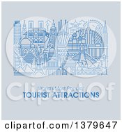 Clipart Of The Worlds Most Popular Tourist Attractions In Flat Design Over Gray With Text Royalty Free Vector Illustration