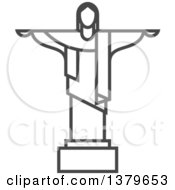 Clipart Of A Grayscale Christ The Redeemer Royalty Free Vector Illustration