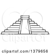 Clipart Of A Grayscale Chichen Itza Pyramid Royalty Free Vector Illustration