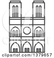 Clipart Of A Grayscale Building Royalty Free Vector Illustration