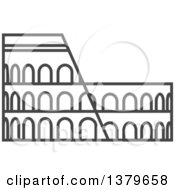 Clipart Of A Grayscale Roman Coliseum Royalty Free Vector Illustration