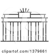Clipart Of A Grayscale Brandenburg Gate Royalty Free Vector Illustration