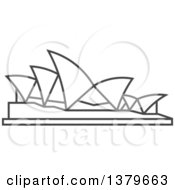 Clipart Of A Grayscale Sydney Opera House Royalty Free Vector Illustration