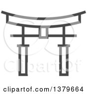 Clipart Of A Grayscale Torii Gate Royalty Free Vector Illustration