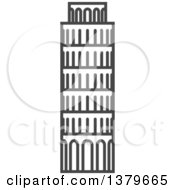 Clipart Of A Grayscale Tower Of Pisa Royalty Free Vector Illustration
