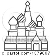Clipart Of A Grayscale Cathedral Of Vasily The Blessed Royalty Free Vector Illustration