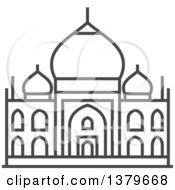 Clipart Of A Grayscale Taj Mahal Royalty Free Vector Illustration