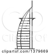 Clipart Of A Grayscale Burj Al Arab Royalty Free Vector Illustration