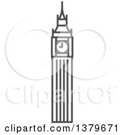 Clipart Of A Grayscale Big Ben Clock Tower Royalty Free Vector Illustration