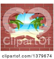 Clipart Of A Hole In A 3d Brick Wall Revealing A Tropical Beach Royalty Free Vector Illustration