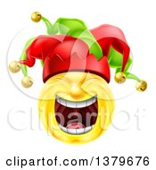 Clipart Of A 3d Yellow Male Smiley Emoji Emoticon Face Court Jester Laughing Royalty Free Vector Illustration by AtStockIllustration