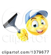 Clipart Of A 3d Yellow Male Smiley Emoji Emoticon Window Washer Holding A Squeegee Royalty Free Vector Illustration