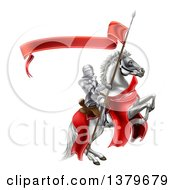 3d Fully Armored Medieval Knight On A Rearing White Horse Holding A Spear Flag