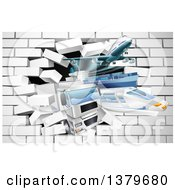 Clipart Of 3d Cargo Logistics Modes Trains Planes Big Rig Trucks And Ships Breaking Through A White Brick Wall Royalty Free Vector Illustration