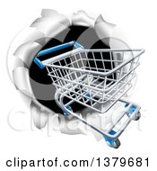 Clipart Of A 3d Shopping Cart Breaking Through A Wall Royalty Free Vector Illustration
