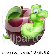 Clipart Of A Happy Green Worm Emerging From A Red Apple Royalty Free Vector Illustration by AtStockIllustration
