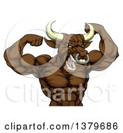 Clipart Of A Muscular Brown Bull Man Mascot Flexing From The Waist Up Royalty Free Vector Illustration