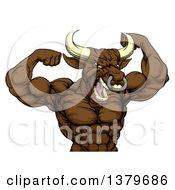 Muscular Brown Bull Man Mascot Flexing From The Waist Up