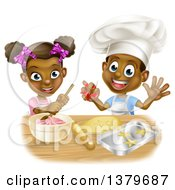 Clipart Of A Cartoon Happy Black Girl And Boy Making Frosting And Baking Star Cookies Royalty Free Vector Illustration