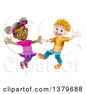 Clipart Of A Happy White Boy And Black Girl Dancing Royalty Free Vector Illustration by AtStockIllustration