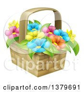 Clipart Of A Basket Of Colorful Flowers Royalty Free Vector Illustration by AtStockIllustration