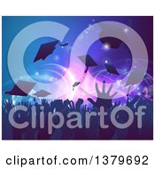 Clipart Of A Silhouetted Graduation Crowd Tossing Up Their Mortar Board Caps Against Party Lights Royalty Free Vector Illustration